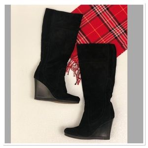 Nine West suede tall wedge knee high boots